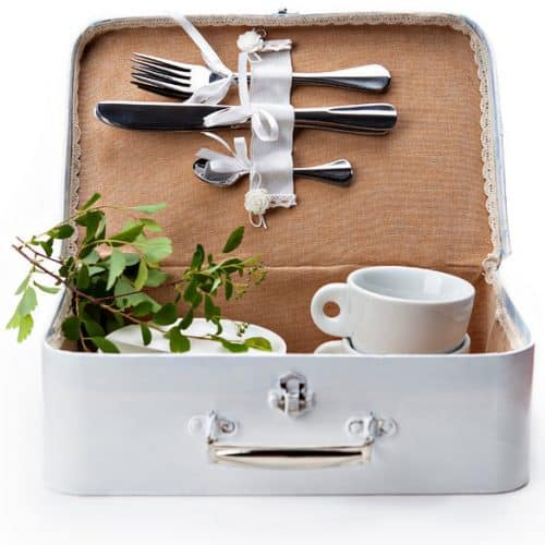 reuseable lunch box with utensils and cups inside