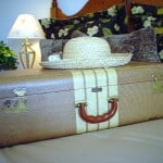 suitcase with a sun hat on top for traveling