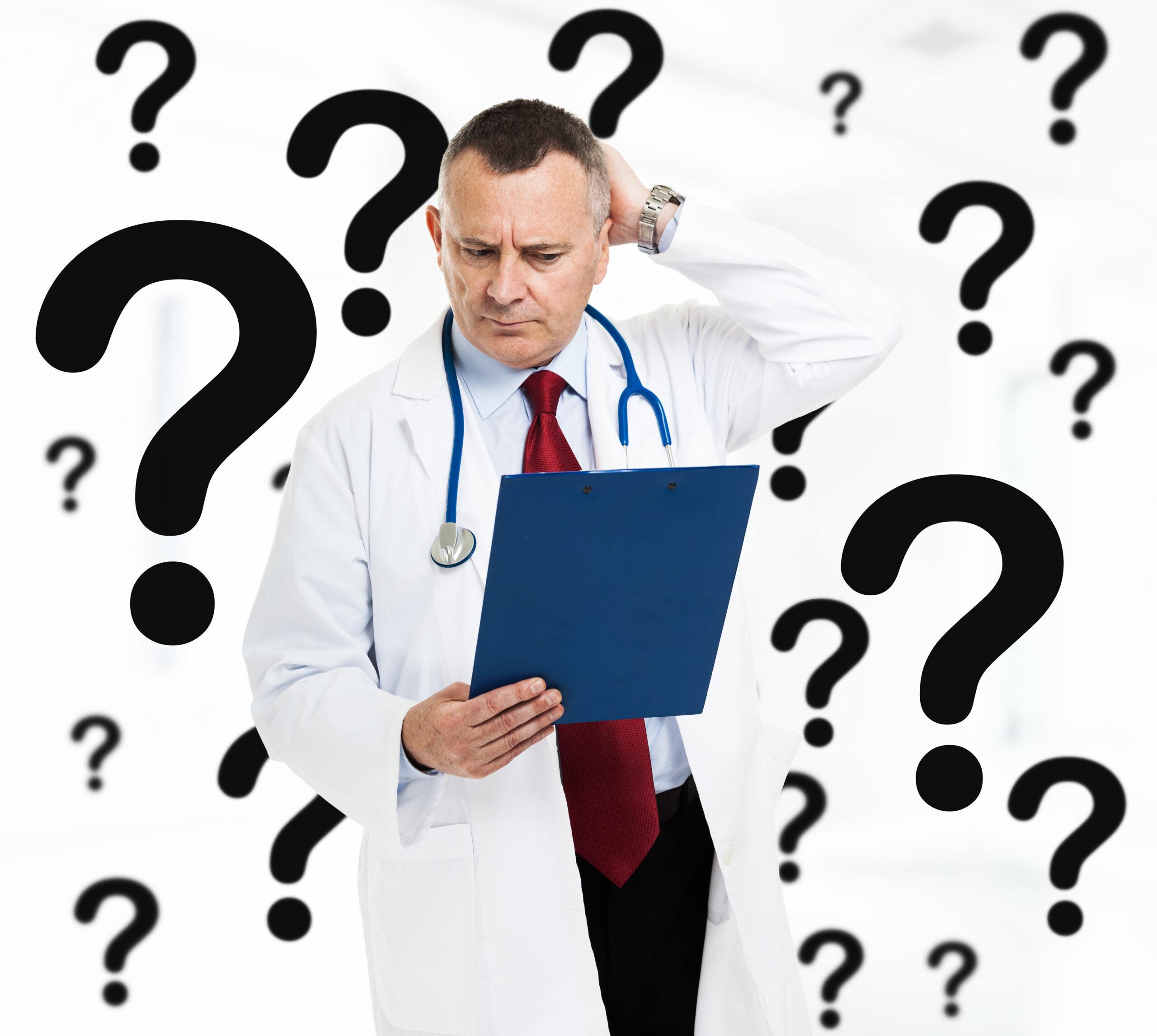 Doctor looking confused. Doctors don't understand celiac disease or gluten sensitivity