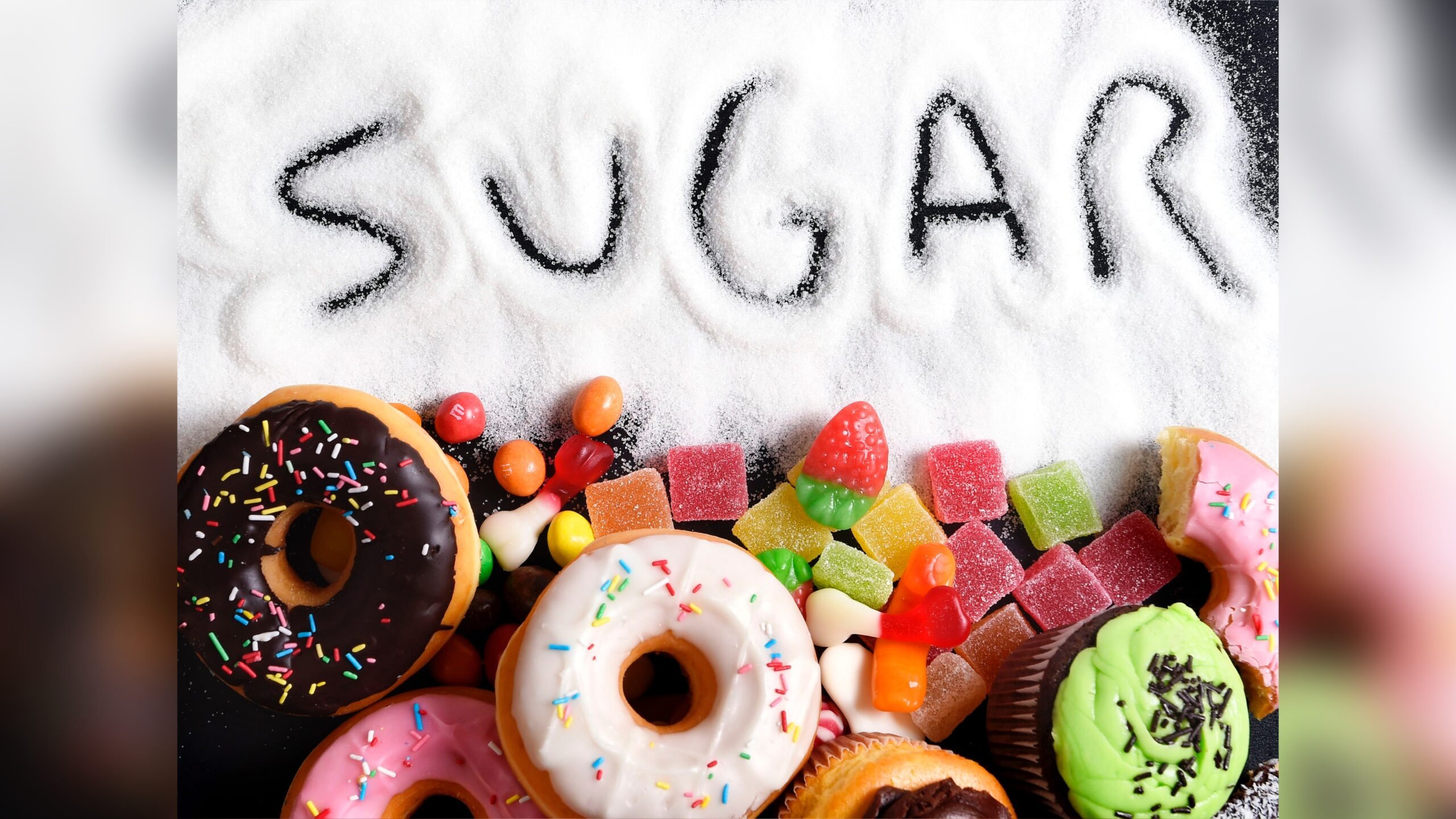 Picture of the word sugar written in sugar.