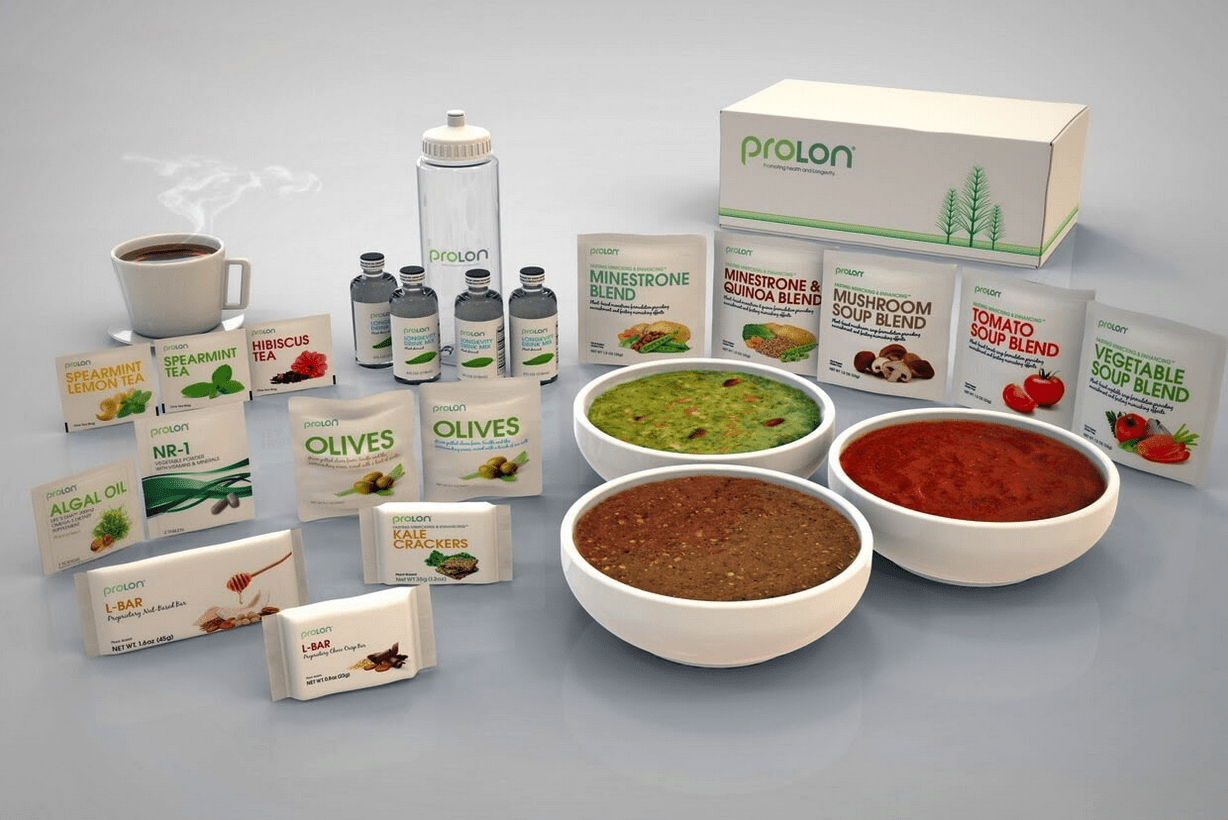 Fasting mimicking diet- Picture is the ProLon meal kit displayed with boxes and bowls of what is included in the kit