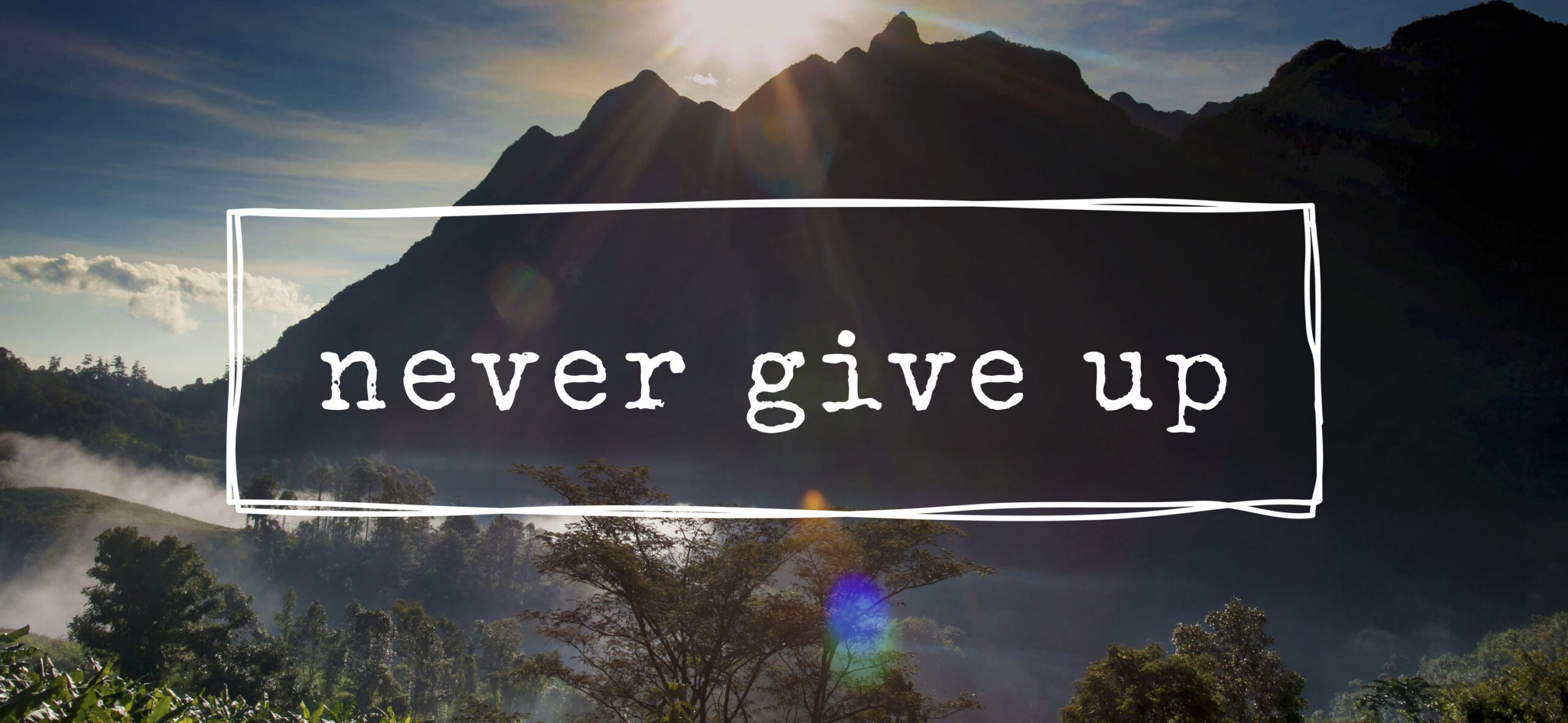 """A mountain scenery with the words """"Never Give Up"""""""